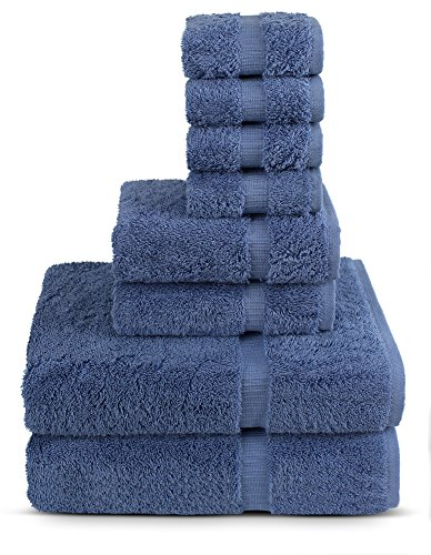 TURKUOISE TURKISH TOWEL 8 Piece Turkish Luxury Turkish Cotton Towel Set – Eco Friendly, 2 Bath Towels, 2 Hand Towels, 4 Wash Clothes by (Wedgewood)