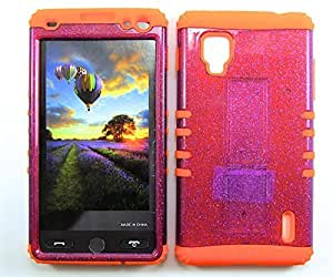Cell-Attire Shockproof Hybrid Case For LG Optimus G, LS970 and Stylus Pen, Orange Soft Rubber Skin with Hard Cover (Purple, Glitter) Sprint by Maris's Diary