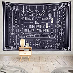 Soopat Tapestry Polyester Fabric Merry Christmas Greeting Card with New Year Toy Art Line White Color Wall Hanging Tapestry Decorations for Bedroom Living Room Dorm 60X50 inch