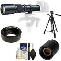 Samyang 500mm f/8.0 Telephoto Lens with 2x Teleconverter (=1000mm) + 58 Tripod Kit for Olympus OM-D EM-5, Pen E-P2, E-P3, E-PL2, E-PL3, E-PM1 & Panasonic Micro 4/3 Digital Cameras