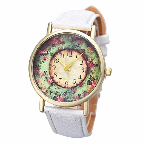 Analog Floral Dial (IEason,Pastorale Floral Women Leather Band Analog Quartz Dial Wrist Watch (B))