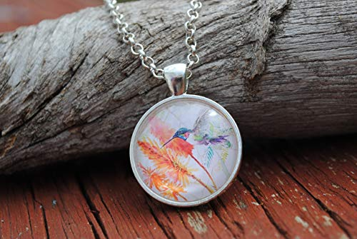 Hummingbird Floral Glass Dome Circle Pendant Necklace 24 Inch Chain Bird Jewelry
