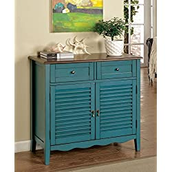 Furniture of America Mallia Country Louver Storage Cabinet, Blue