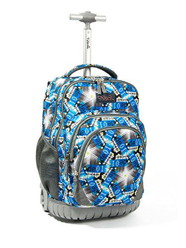 Tilami Rolling Backpack Armor Luggage School Travel Book Laptop 18 Inch Multifunction Wheeled Backpack for Students, Star Shining