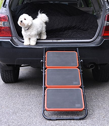 Convertible Dog Stairs - Pet Ramp for Cars & SUV's, 2 levels Height Adjustment Foldable Pet Steps
