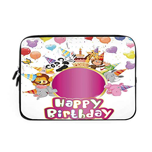 Birthday Decorations for Kids Laptop Sleeve Bag,Neoprene Sleeve Case/Baby Safari Animals with Party Cones Balloons Cake Image/for Apple MacBook Air Samsung Google Acer HP DELL Lenovo AsusMult