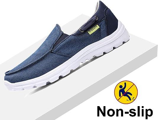 Gaatpot Homme Chaussures en Toile Mocassins Bateau de Sport Espadrilles Chaussures /à Fond Mou Chaussures d/ét/é en Toile Bleu 38EU-47EU