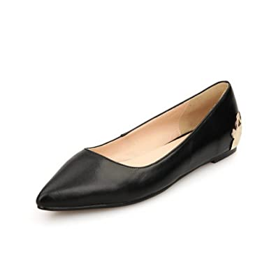 674c4d7023c AdeeSu Womens Slip-Resistant Fashion Pointed-Toe Black Leather Loafers  Shoes SDC04774-4.5
