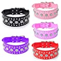 haoyueer Rhinestones Dog Collars Flower Pattern Rhinestone Studded Leather Sparkly Crystal Diamonds Dazzling Sparkling Elegant Fancy PU Leather Dog Collar for Medium & Large Dogs