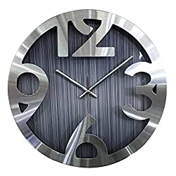 XSHION Wood Grain Simple Design Round Mute Wall Clock for Home Decor Bedroom Living Study Room Office Non-Ticking Silent Hanging Clock - Grey