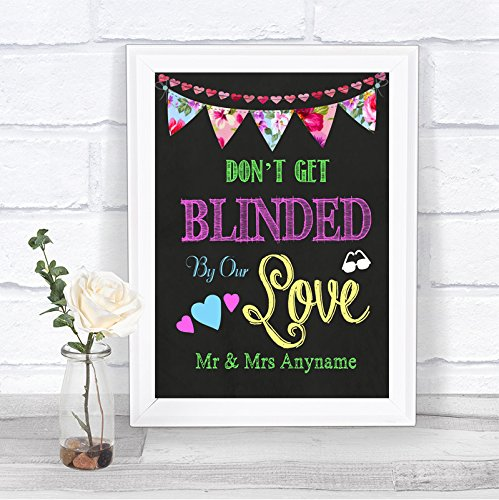 Bright Chalkboard Style Dont Get Blinded Sunglasses Favors Personalized Wedding Sign