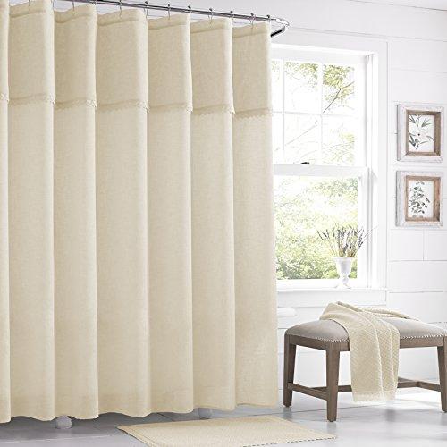 Five Queens Court Sonia Semi-Sheer Crochet Trim Shower Curtain, Shabby Chic, Ivory