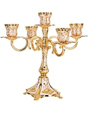 5 Arms Metal Candelabra,Gold Pillar Taper Candle Holders European Embossed Candlestick Holders Candle Stand Centerpiece for Wedding