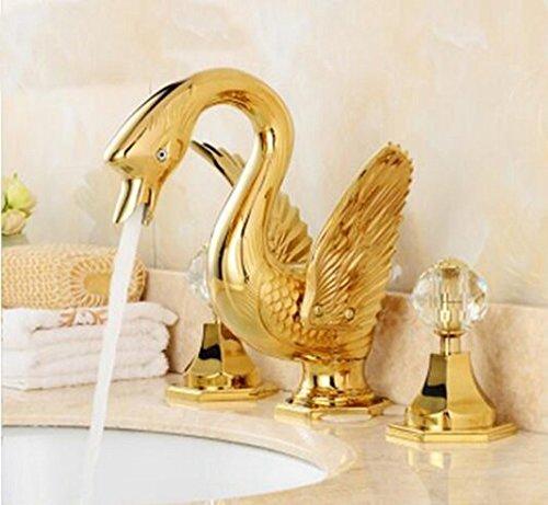 GOWE Widespread Golden Brass Bathroom Basin Faucet Animal Swan Faucet Dual Crystal Handles Vanity Sink Mixer Tap 1