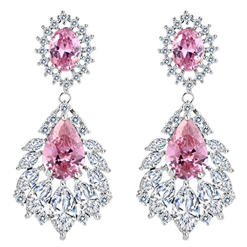 Brilove womens wedding bridal cubic zirconia 1920s peacock feather brilove womens wedding bridal cubic zirconia 1920s peacock feather shaped chandelier dangle earrings pink tourmaline color aloadofball Image collections