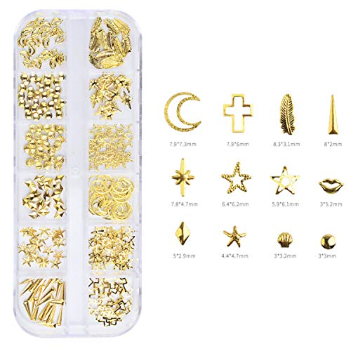 - GreatDeal68 Nail Metal Rivets Charms 3D Nail Art Decoration Star Moon Geometric Heart Cross Feather Lips Starfish Seashell (Gold Cross/Feather/Lips/Starfish/Seashell/Stars Shaped Nail Ornament)