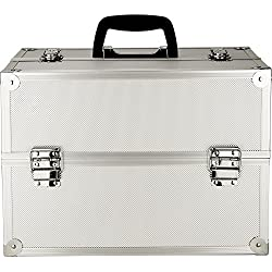 JustCase 4-Tiers Extendable Trays Professional Cosmetic Makeup Case, Silver Dot