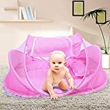 Baby Travel Bed, Portable Folding Baby Crib Mosquito Net Tent Foldable Baby Cots Newborn Foldable Crib for 12-24 Month (Pink)