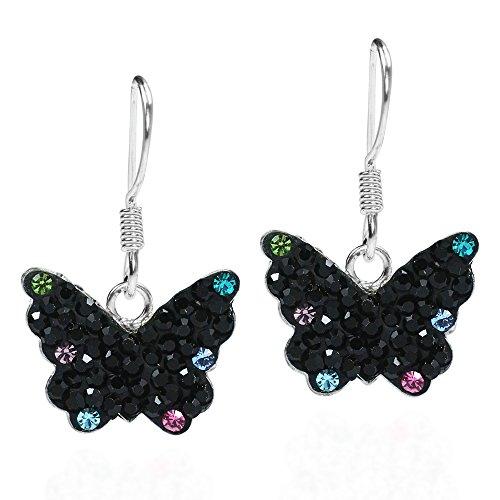 Symbolic Mystical Black Butterfly Cubic Zirconia Flutter .925 Sterling Silver Dangle Earrings (Black Butterfly Earrings)