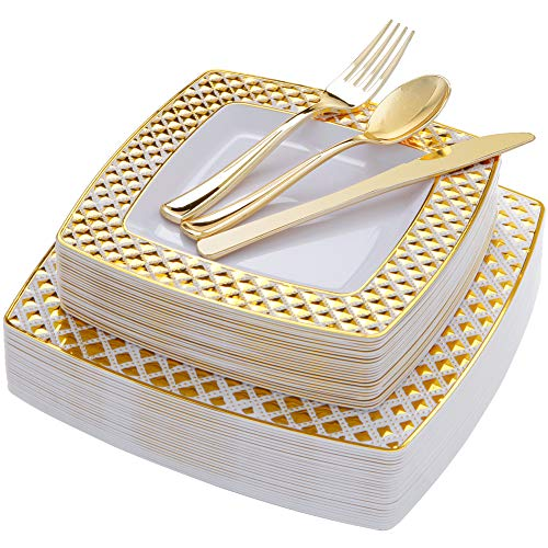 WDF 125PCS Gold Plastic Plates with Disposable Plastic Silverware,Diamond Square Plastic Tableware include 25 Dinner Plates,25 Salad Plates,25 Forks, 25 Knives, 25 Spoons ()