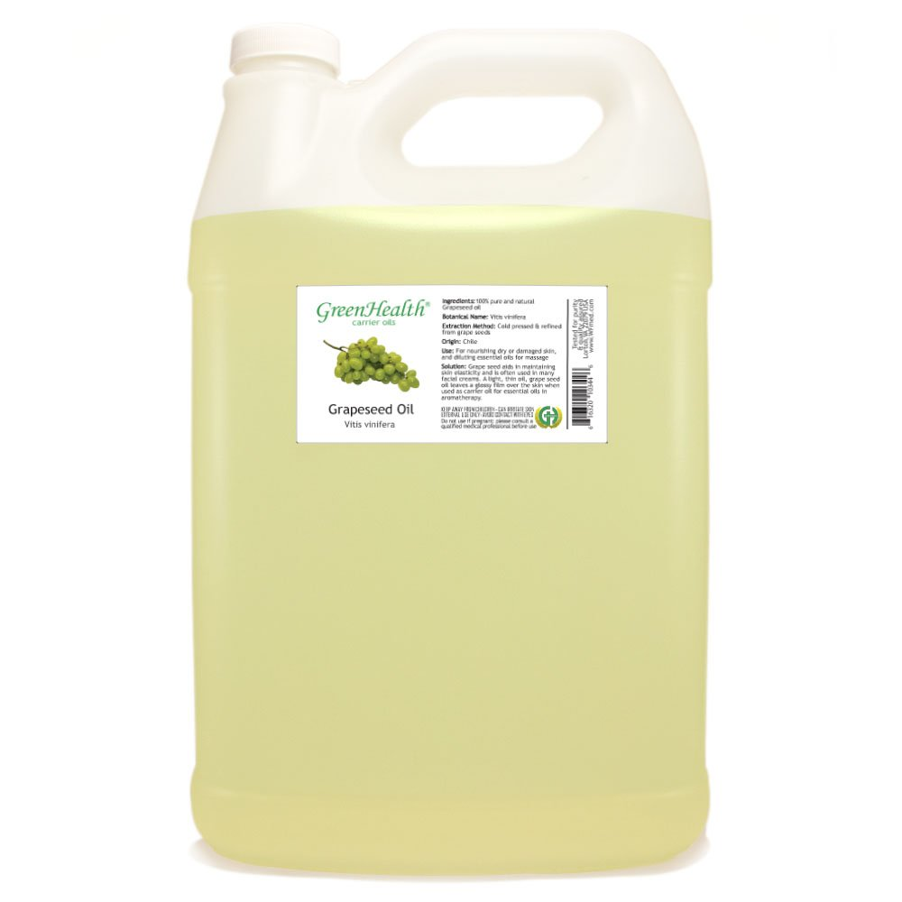 GreenHealth Grapeseed - 1 Gallon Plastic Jug w/Cap - 100% Pure Carrier Oil by GreenHealth