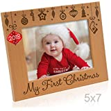 Kate Posh - 2018 Inlaid Ornament - My First (1st) Christmas Engraved Natural Wood Picture Frame. Baby's First Christmas, First Visit to Santa, Grandparents Gifts, Nursery Decor (5x7 Horizontal)