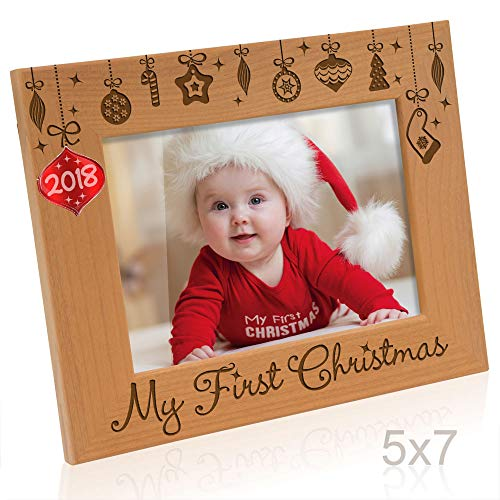 - Kate Posh - 2018 Inlaid Ornament - My First (1st) Christmas Engraved Natural Wood Picture Frame. Baby's First Christmas, First Visit to Santa, Grandparents Gifts, Nursery Decor (5x7 Horizontal)
