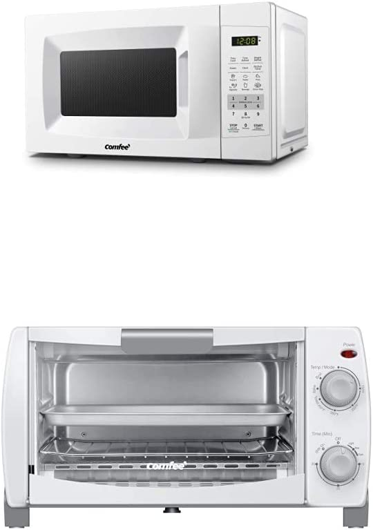 COMFEE' EM720CPL-PM Countertop Microwave Oven + COMFEE' Toaster Oven Countertop, 4-Slice, Compact Size