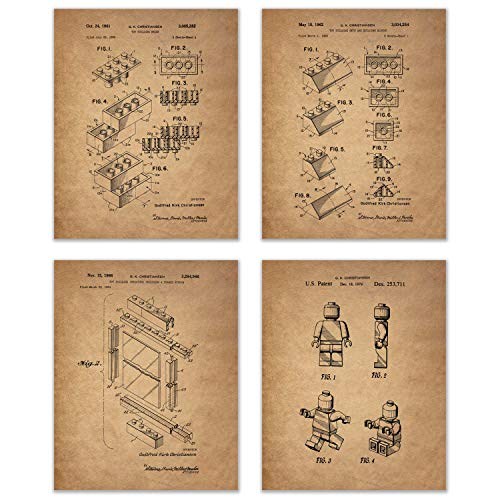 Lego Patent Art Prints - Set of Four Photos - Toy Game Room Wall Decor