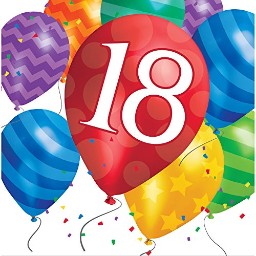 Creative Converting 667818 Balloon Blast 18Th Birthday Lunch Napkins, 6.5 x 6.5, -