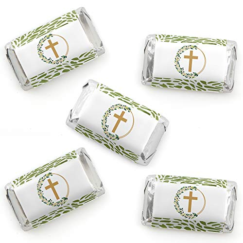 - Big Dot of Happiness Elegant Cross - Mini Candy Bar Wrapper Stickers - Religious Party Small Favors - 40 Count