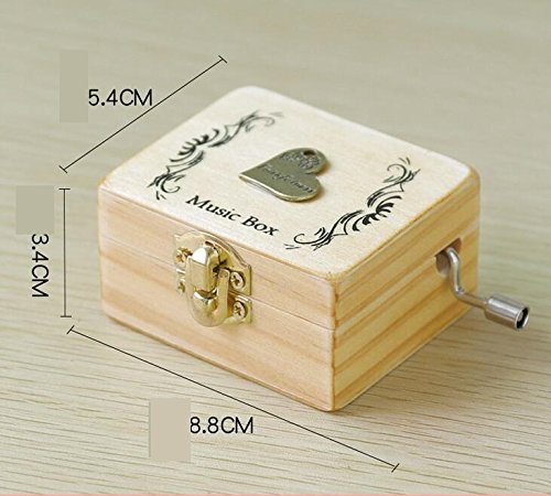 Zhoyea Music Box Creative Gift Wooden Hand-Cranked Music Box with Music of Castle in The Sky-Heart from Zhoyea
