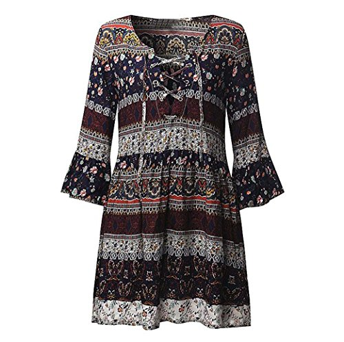 DongDong Hot Sale! Dress Evening Print Floral Sleeve Women Three Quarter Boho Party Dress Ladies (Four Flare Burner)