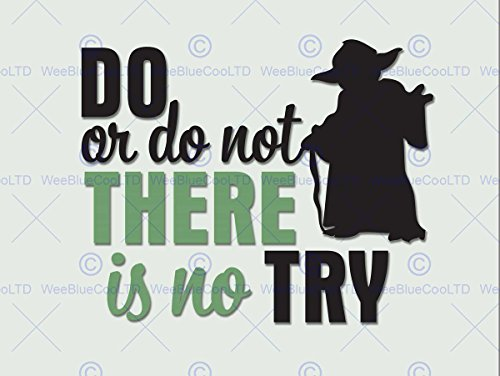 DO OR NOT NO TRY YODA QUOTE TYPOGRAPHY ART PRINT 12x16 ""