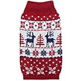 #9: Blueberry Pet 6 Patterns Vintage Ugly Christmas Reindeer Holiday Festive Pullover Dog Sweater in Tango Red & Navy Blue, Back Length 14