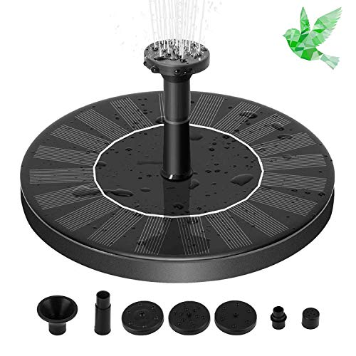 Aurrra Solar Fountain Pump, 1.4W Free Standing Water Fountain Pump Kit with 4 Different Spray Pattern Heads for Bird Bath, Fish Tank, Small Pond and Garden