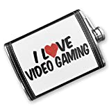 8oz Flask Stitched I Love Video Gaming Stainless Steel - Neonblond