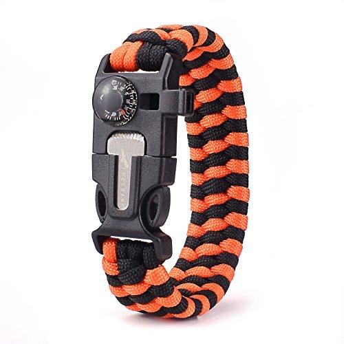 Freehawk Must-Have Outdoor Survival Paracord Bracelet/Emergency Kit With Thermometer Fire Starter Scraper Whistle Kit-Parachute Cord-Escape Survival Gear Pack (Orange&Black 1PCS)