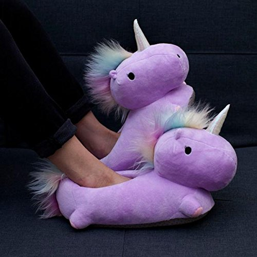 SMOKO Adorable Plush Unicorn Heated Footwarmer Slippers, Powered by USB (PURPLE) (Embroidered Comfy Slippers)