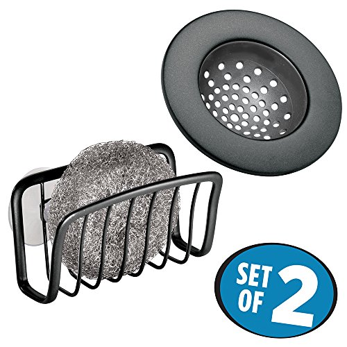 mdesign-kitchen-sink-suction-sponge-holder-and-drain-strainer-set-of-2-matte-black