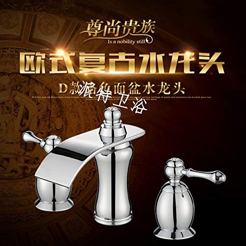 7 Oudan Basin Mixer Tap Bathroom Sink Faucet The solid brass double the three hole split insert drill basin faucet antique table basin ceramic titanium gold, jade, chrome plated (color   5)