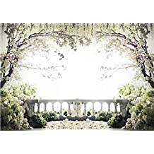 13x10 Wedding Photography Backdrop Blooming White Flowers Tree Brick Fence Photography Background for Wedding Custom Made