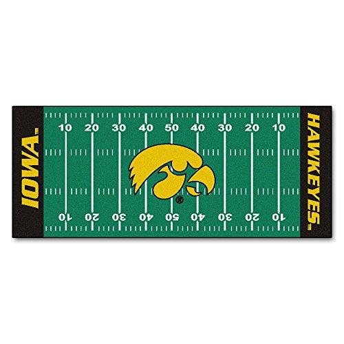 Fan Mats University Of Iowa Patterned Area Rug, Hawk Eyes Football Field Themed, Runner Indoor Hallway Living Area Bedroom Kitchen Cabin Carpet, Geometric Straight Lines Design, Black, Size 2'5 x 6' ()