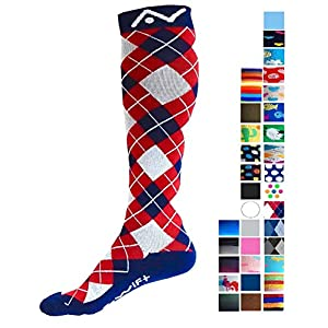 A-Swift Compression Socks (1 pair) for Women & Men by Best For Running, Athletic Sports, Crossfit, Flight Travel - Suits Nurses, Maternity Pregnancy - Below Knee High (Red White Blue Argyle, Medium)