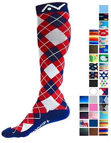Compression Socks (1 pair) for Women & Men by A-Swift - Best For Running, Athletic Sports, Crossfit, Flight Travel - Suits Nurses, Maternity Pregnancy - Below Knee High (Red White Blue Argyle, Large)