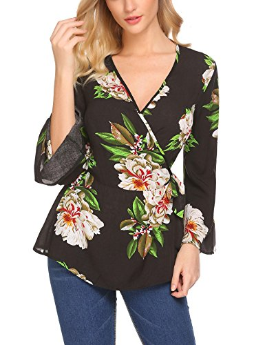 Showyoo Women Bell Sleeve Blouse V Neck Wrap Tops For Women Work Office With Belt Black L (Flare Wrap Print)