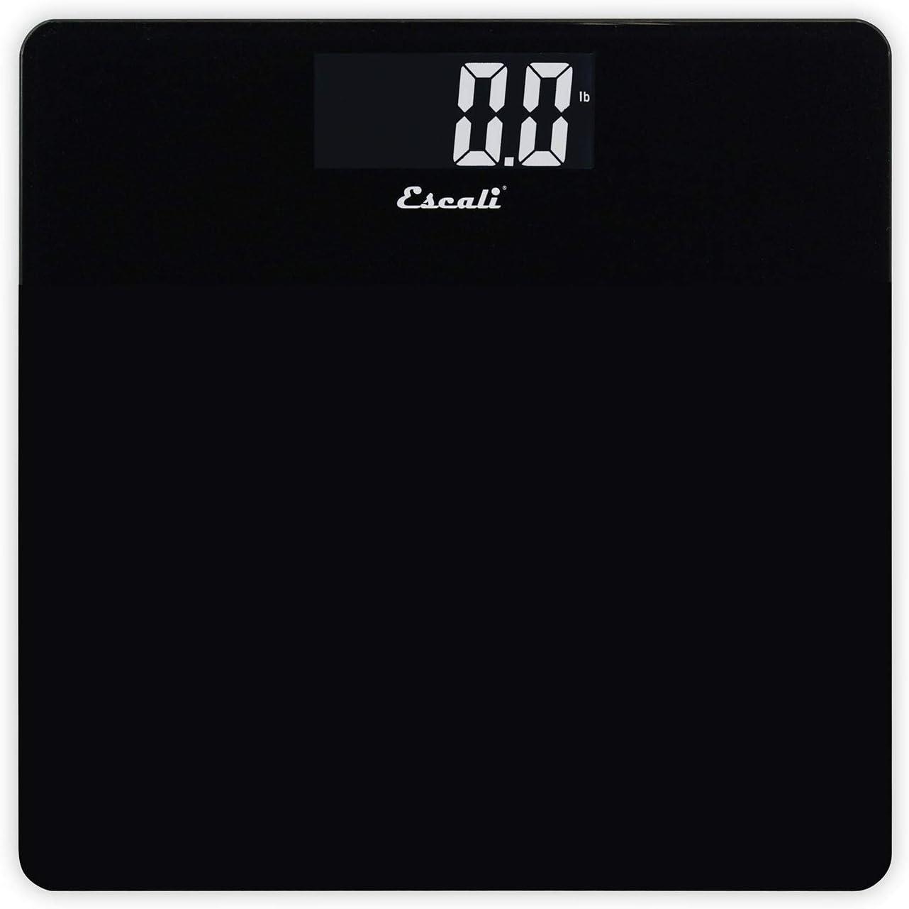 Escali B200B Glass Platform Bathroom Body Scale, Low Profile, LCD Digital Display, 440lb Capacity, Black