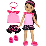 14 Inch Doll Pajamas by Sophia's | Complete Black & Pink Heart PJ Top and Bottoms Plus Slippers Fits American Girl Wellie Wishers Dolls | 14.5 In Doll 4 Piece Set