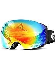 Odoland Skibrille für Damen und Herren mit magnetisch wechselsystem Spiegelscheibe OTG mit UV-Schutz, Anti-Nebel, Winddicht Skibrille für Wintersportarten für Brillenträger geeignet