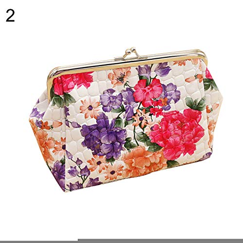 (Misszhang-US Women Vintage Flower Print Kiss Lock Faux Leather Clutch Cosmetic Bag Purse)
